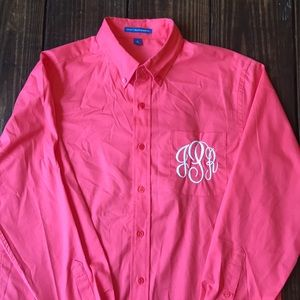 Hot Coral Port Authority Button Down Dress Shirt